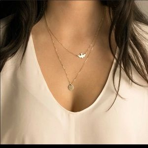 Double layered gold Toned dove circle necklace